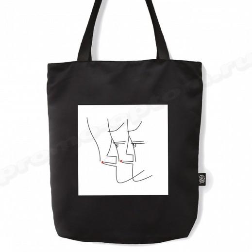 сумка из черной саржи 30х40