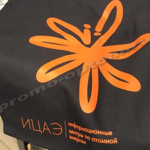 сумка из саржи черной 40х40 с логотипом