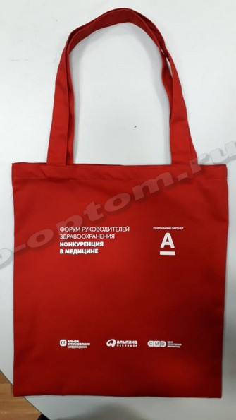 сумка из красной саржи 30х35 с логотипом
